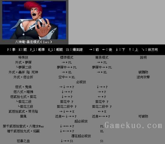 拳皇1.68-暴走八神庵出招表