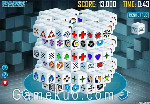 3D旋轉麻將連連看(Mahjongg Dimensions)遊戲圖