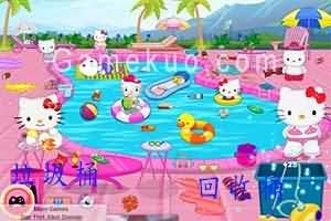 凱蒂貓清理游泳池(Hello Kitty Messy Swimming Pool)遊戲圖