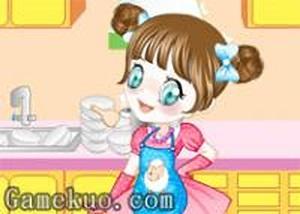 快樂的洗碗女孩