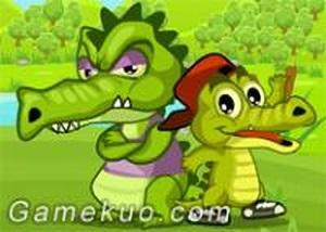 頑皮鱷魚父子雙人合作