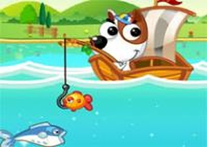 可愛狗狗釣魚