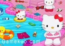 凱蒂貓清理游泳池