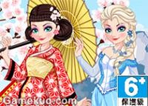 冰雪女王穿越日本裝扮