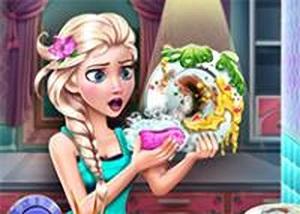 冰雪艾莎洗碗